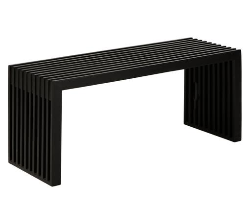 Ławka z drewna tekowego Rib, Drewno mahoniowe, lakierowane, Czarny, S 104 x W 43 cm