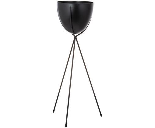 Übertopf Jol, Gestell: Metall, Übertopf: Kunststoff, Schwarz, 23 x 54 cm