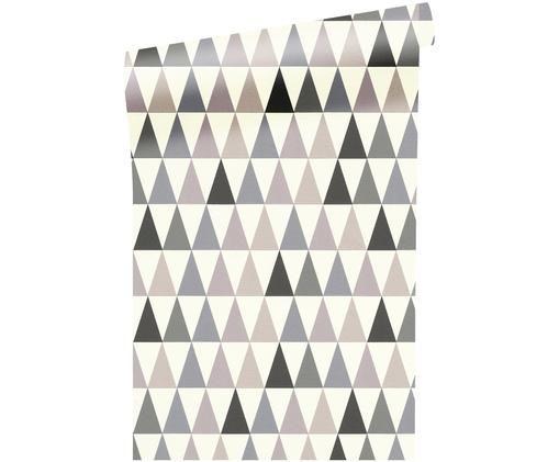 Carta da parati Triangel, Grigio scuro, grigio chiaro, bianco, beige, viola chiaro