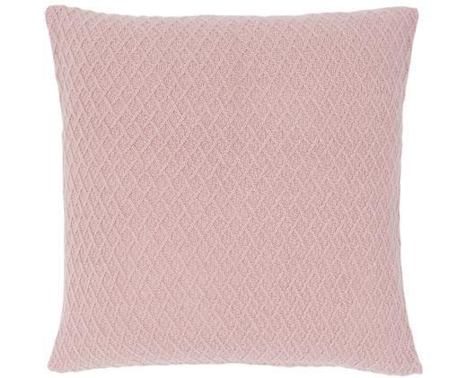 Kasjmier kussenhoes Serlina met gebreid patroon, Roze