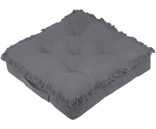 Poduszka podłogowa z frędzlami Prague, Bawełna, Ciemny szary, S 45 x D 45 cm