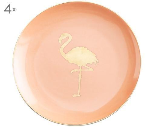Brotteller Flamingo, 4 Stück, Pink, Goldfarben