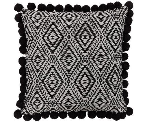 Dwustronna poszewka na poduszkę Adell Rhomb, Bawełna, Biały, czarny, S 45 x D 45 cm