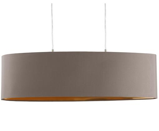 Hanglamp Jamie, Baldakijn: vernikkeld metaal, Fitting: vernikkeld metaal, Zilverkleurig, grijsbeige, 78 x 82 cm