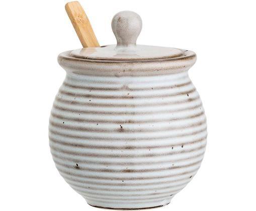 Suikerpot met lepel Stag, Pot: keramiek, Lepel: bamboehout, Grijs, bruin, Ø 10 x H 12 cm
