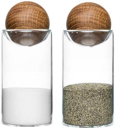Mundgeblasene Salz- und Pfefferstreuer Eden mit Holzdeckel, 2er-Set