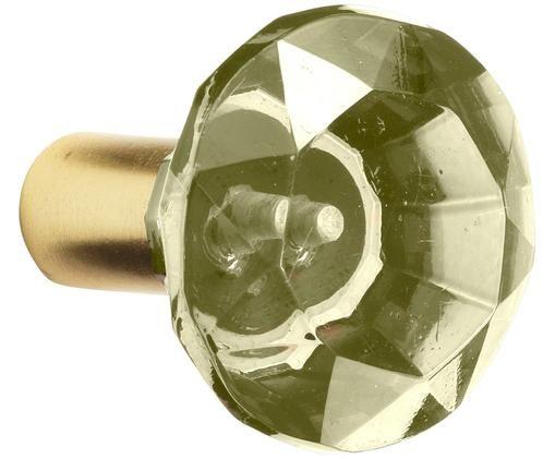 Glas-Wandhaken Sofie Diamond, Wandbefestigung: Messingfarben Front: Grün, Transparent