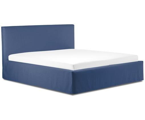 Gestoffeerd bed Feather met opbergfunctie, Blauw