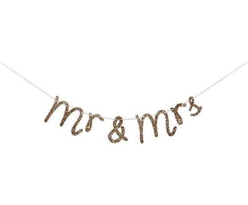 Girlande Mr & Mrs, Papier, Baumwolle, Goldfarben, L 150 x H 11 cm