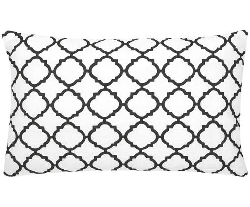 Kissenhülle Lona mit Stickerei, Baumwolle, Weiß,Schwarz, 30 x 50 cm