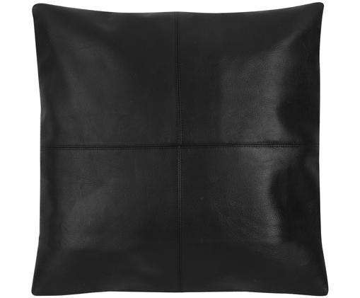 Leder-Kissenhülle Elegance in Schwarz mit Ziernaht, Schwarz