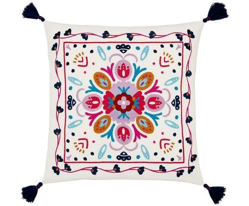 Haftowana poszewka na poduszkę Flower Power, Bawełna, Kremowobiały, wielobarwny, S 45 x D 45 cm