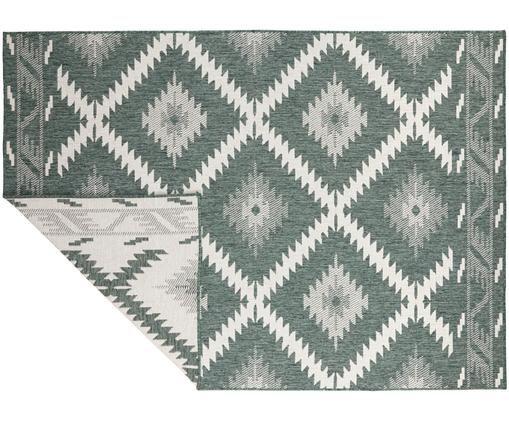 Dubbelzijdig in- & outdoor vloerkleed Malibu in ethno stijl, groen-wit, Groen, crèmekleurig
