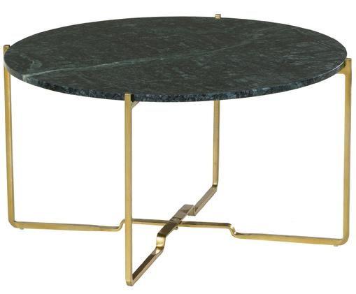 Tavolino da salotto in marmo Margot, Piano d'appoggio: marmo verde Struttura: dorato opaco