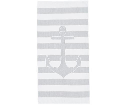 Ręcznik plażowy Anko, Bawełna Niska gramatura 380 g/m², Szary, biały, S 80 x D 160 cm