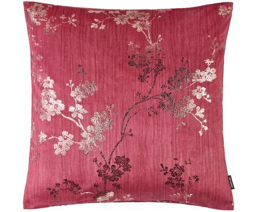 Poszewka na poduszkę z aksamitu Nicole, Aksamit poliestrowy, Azaliowa czerwień, odcienie złotego, S 40 x D 40 cm