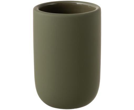 Kubek na szczoteczki Lotus, Ceramika, Oliwkowy zielony, Ø 7 x W 10 cm