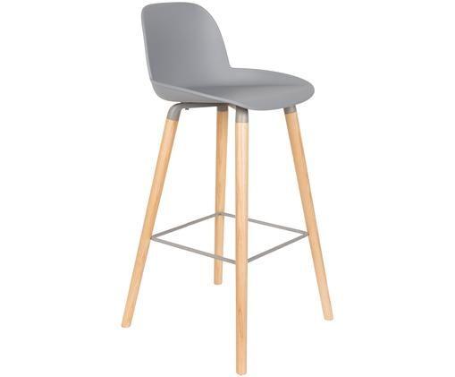 Krzesło barowe Albert Kuip, Nogi: drewno dębowe, Siedzisko: jasny szary Nogi: drewno jesionowe Rama i podnóżek szary, S 50 x W 99 cm