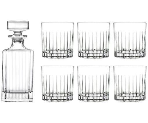 Kryształowy komplet do whisky Timeless, 7 elem., Szkło kryształowe, Transparentny, Różne rozmiary