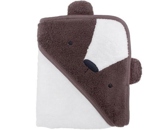 Kapuzenhandtuch Bär, Baumwolle, GOTS-zertifiziert, Braun, Weiß, 85 x 85 cm
