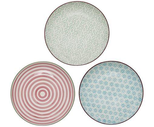 Set piatti da colazione Patrizia, 3 pz., Terracotta, Bianco, verde, rosso, blu, Ø 20 cm