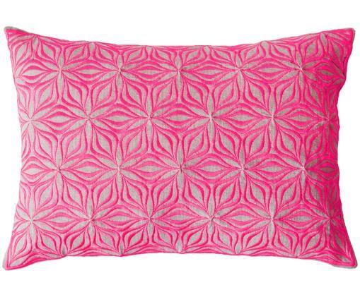 Cuscino in lino Martha, ricamato, Rosa, beige