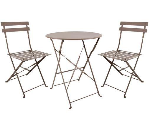 Garten-Sitzgruppe Chelsea aus Metall, 3-tlg., Metall, pulverbeschichtet, Taupe, Sondergrößen