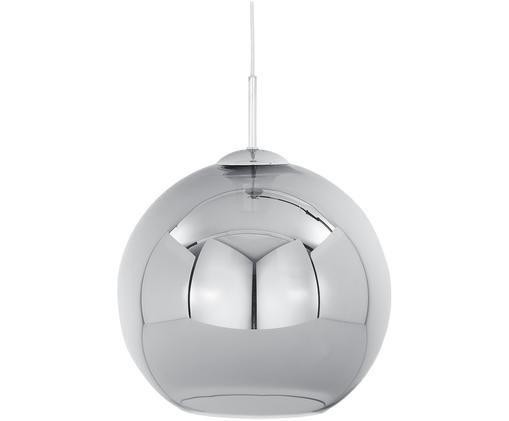 Pendelleuchte Soleil, Baldachin: Metall, verchromt, Lampenschirm: Glas, Chrom, Grau, Ø 30 cm