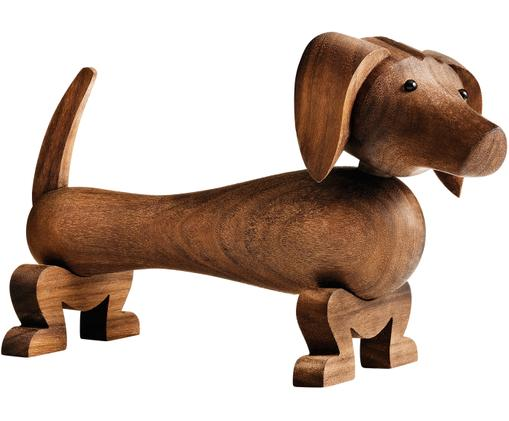 Dekoracja Dog, Drewno orzecha włoskiego, lakierowany, Drewno orzecha włoskiego, S 18 x W 11 cm