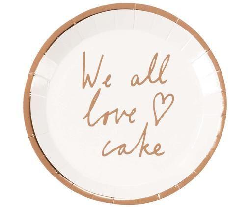 Assiette en papier We All Love Cake, 12pièces