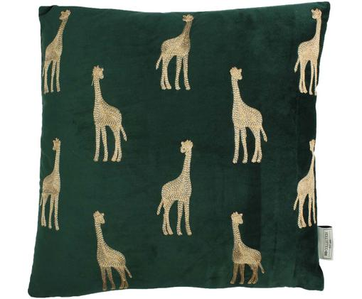 Coussin en velours vert à broderies dorées Girafe, Vert, couleur dorée