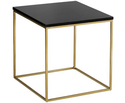 Tavolino in granito Alys, Piano d'appoggio: granito, Struttura: metallo rivestito, Piano d'appoggio: granito nero Struttura: dorato lucido, Larg. 50 x Alt. 50 cm