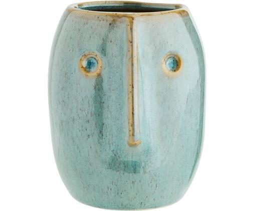 Portavasi Face, Terracotta, Verde chiaro, beige, Ø 8 x Alt. 10 cm