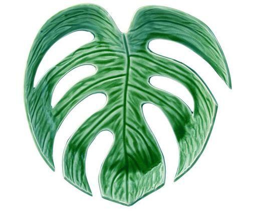 Serveerplateau Leaf, Keramiek, Groen, B 26 x D 26 cm