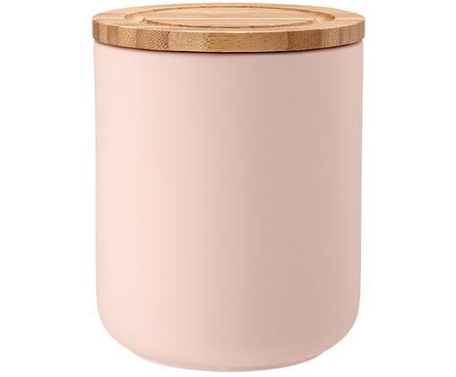 Pojemnik do przechowywania Stak, Blady różowy, drewno bambusowe, Ø 10 x W 13 cm