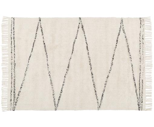 Handgetufteter Baumwollteppich Asisa mit Zickzack-Muster, Beige, Schwarz