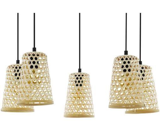 Hanglamp Claverdon van hout, Staal, hout, Zwart, bruin, Ø 18 x H 200 cm