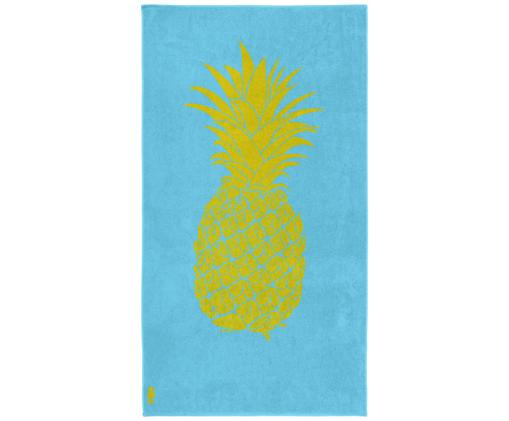 Ręcznik plażowy Ananas, Welur (bawełna) Średnia gramatura, 420g/m², Jasny niebieski, żółty, S 100 x D 180 cm