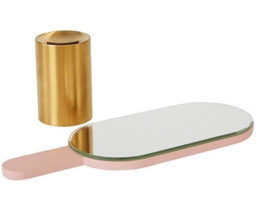 Make-up spiegel Renga, Voetstuk: vermessingd metaal, Roze, messingkleurig, 11 x 31 cm