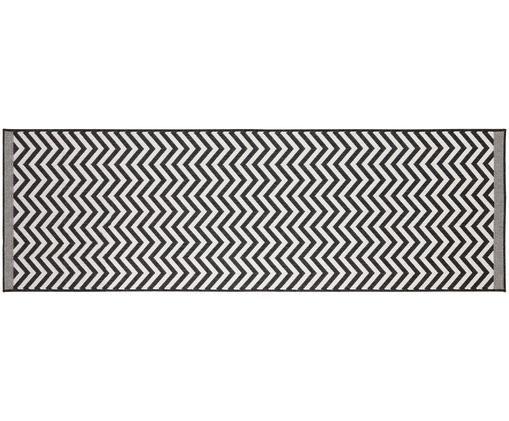 In- und Outdoorläufer Palma mit Zickzack-Muster, beidseitig verwendbar, Schwarz, Creme, 80 x 250 cm