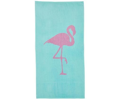 Ręcznik plażowy Mingo, Bawełna Niska gramatura 380 g/m², Turkusowy, różowy, S 80 x D 160 cm