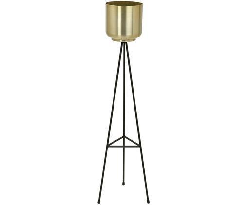 Osłonka na doniczkę Loki, Stelaż: metal lakierowany, Czarny, mosiądz, Ø 23 x W 85 cm