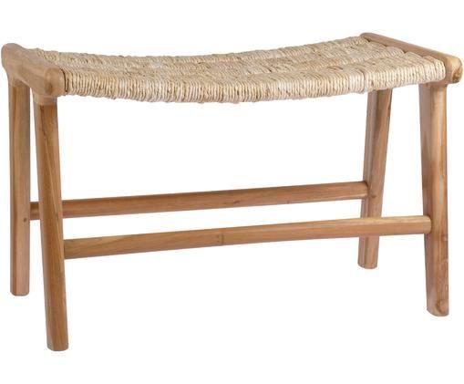 Hocker Abaca, Gestell: Teakholz, Sitzfläche: Bananenhanf, Beige, 65 x 42 cm