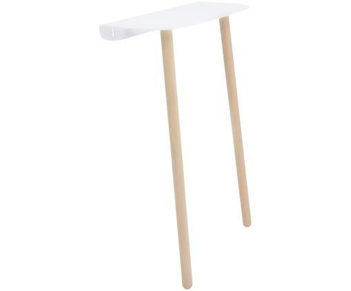 Tavolino da parete scandi Please, Gambe: legno di frassino, massic, Scaffale: metallo, verniciato a pol, Legno di quercia, bianco, Larg. 45 x Prof. 22 cm