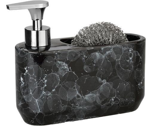 Set dosatore di sapone Bubble, 2 pz., Contenitore: ceramica, Testa della pompa: materiale sintetico, Nero, argento, Larg. 19 x Alt. 16 cm