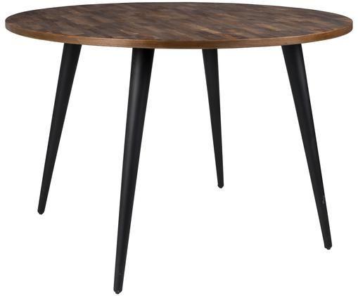 Runder Esstisch Mo mit Teakholzplatte, Tischplatte: Teakholz Beine: Schwarz