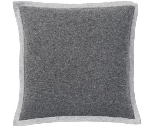 Federa in puro cashmere Laura, 100% cashmere Il cashmere è molto morbido, confortevole e caldo, Grigio scuro, grigio chiaro, Larg. 40 x Lung. 40 cm