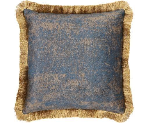 Cojín de terciopelo con flecos Velvia, con relleno, Funda: terciopelo de poliéster, Azul, marrón, An 45 x L 45 cm
