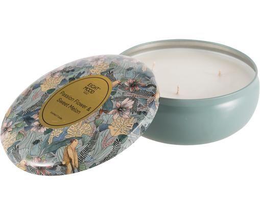 Dreidochtduftkerze Luciana (Passionsblume & Süße Melone), Behälter: Metall, Blau, Mehrfarbig, Ø 8 x H 5 cm