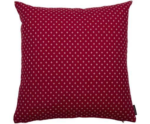 Kissen Tempo mit aufgenähtem Kreuzmuster, mit Inlett, Bezug: Baumwolle, Dunkles Rot, Weiß, 50 x 50 cm
